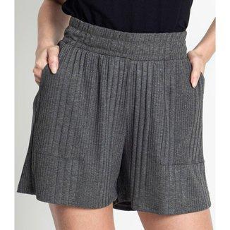 Shorts Feminino Canelado Rovitex Cinza P