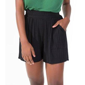 Shorts Feminino Canelado Rovitex Preto GG