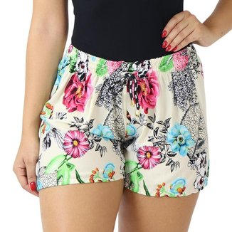 Shorts Feminino Curto Soltinho Estampado Florido Elástico