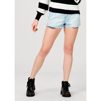 Shorts Feminino Destroyed Em Jeans De Algodão
