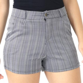 Shorts Feminino Listrado Cós Alto Com Bolsos Zíper Verão