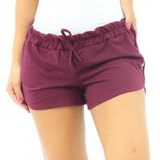Shorts Feminino Moletinho C/ Listra Elástico Shortinho Verão