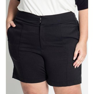 Shorts Feminino Plus Size de Bengaline Secret Glam Preto Plus 52