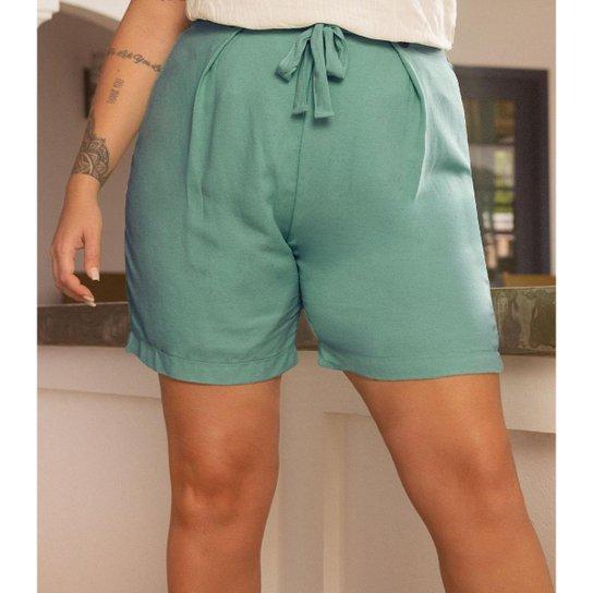 Shorts Feminino Plus Size Secret - Verde
