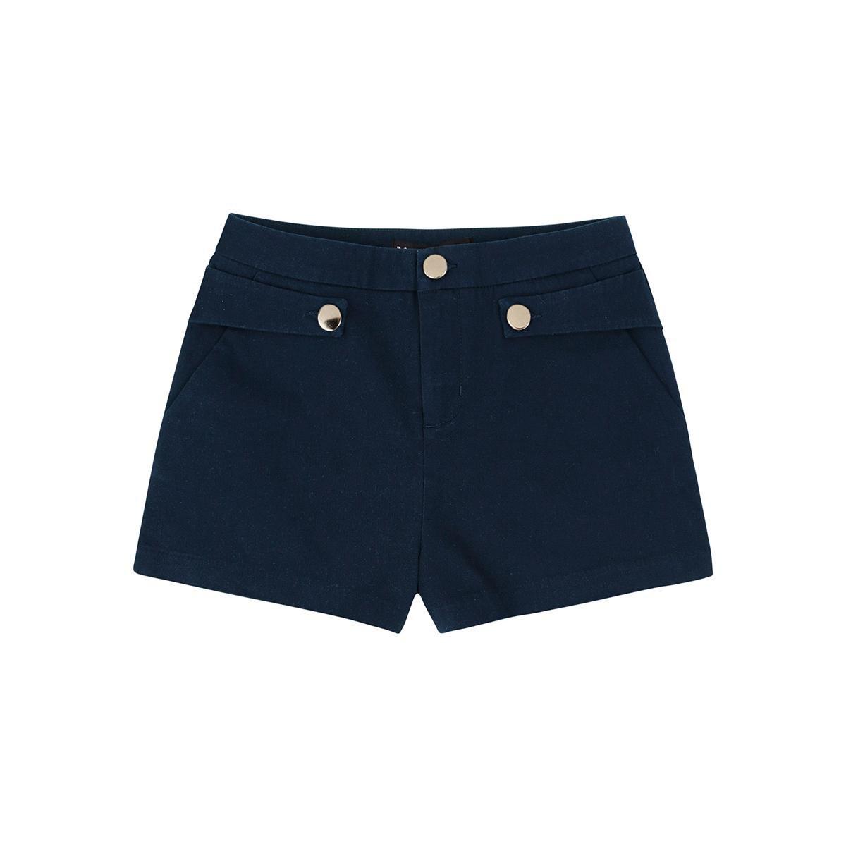 Shorts Hering Em Tecido De Algodão Com Detalhe De Martingale Feminino - Azul Escuro