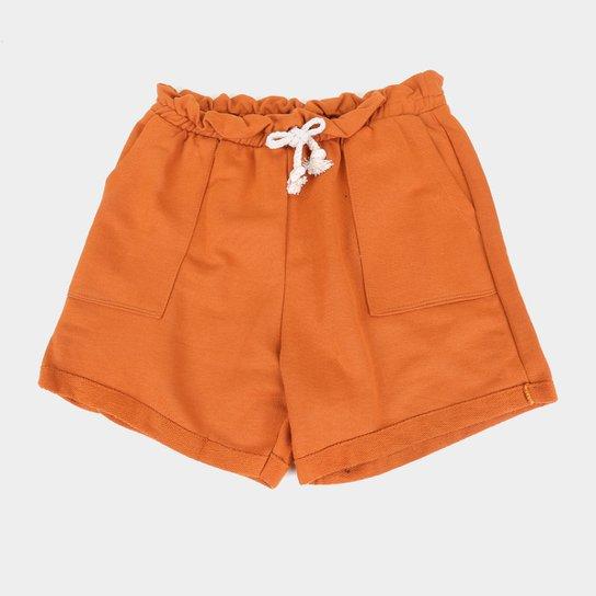 Shorts Infantil Costão Clochard Feminino - Caramelo