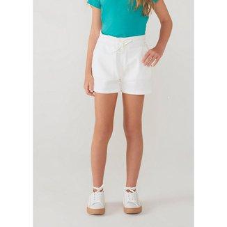 Shorts Infantil Feminino Clochard Em Sarja