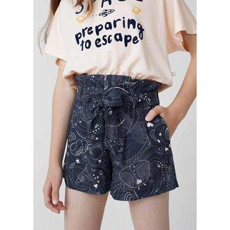 Shorts Infantil Feminino Clochard Em Viscose