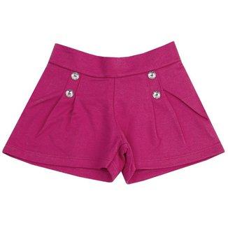 Shorts Infantil Menina Detalhe em Botões Teddy Collor