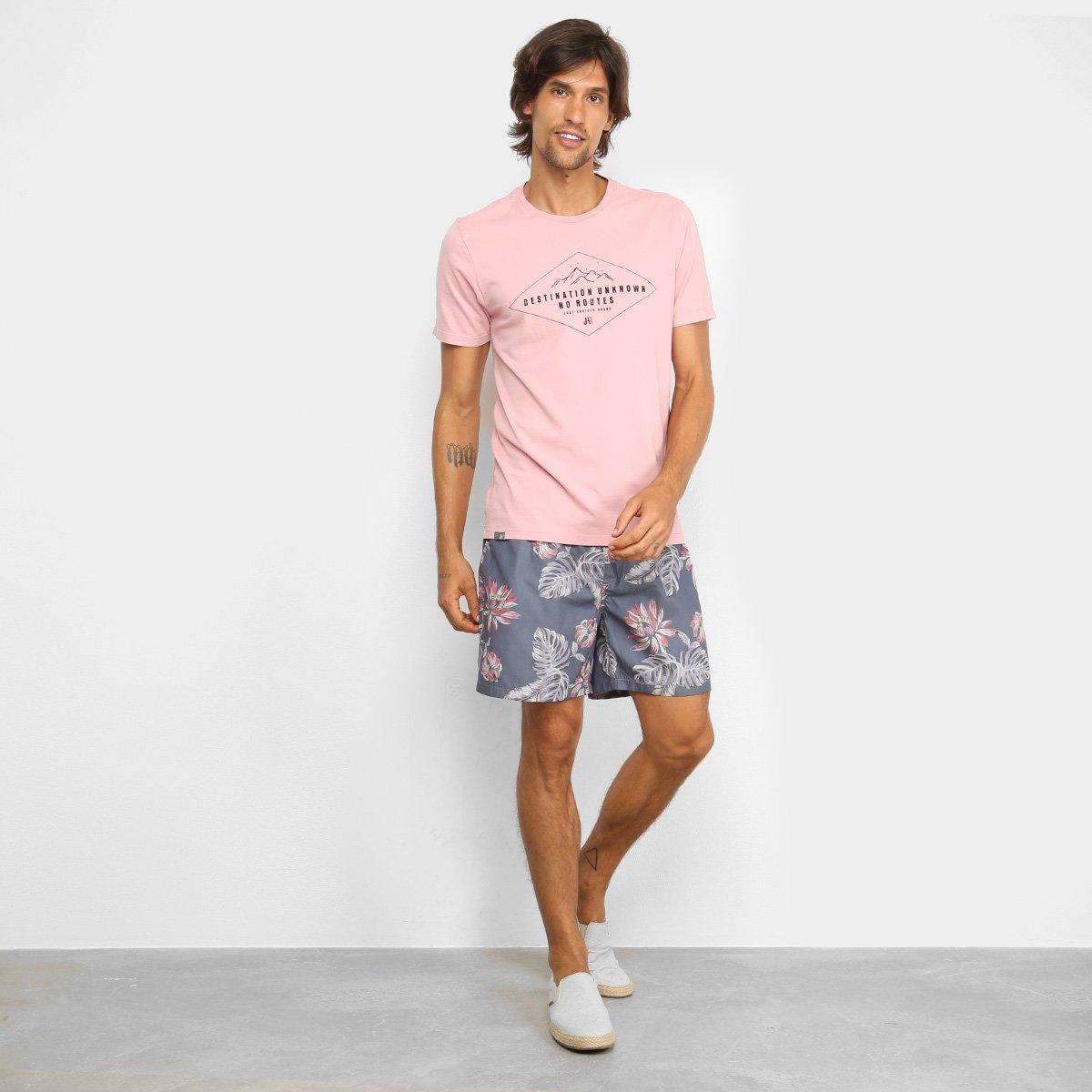Shorts JAB Estampado Tropical Masculino - Marinho