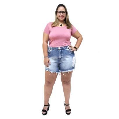 Shorts Jeans 23 Graus Plus Size Rasgadinho Eleydiane Feminino