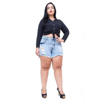 Shorts Jeans 23 Graus Plus Size Rasgadinho Lucilania Feminino