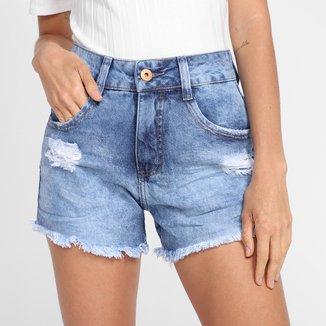 Shorts Jeans Biotipo Puídos Feminino