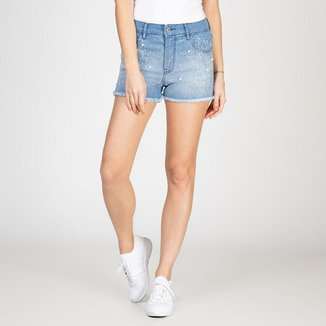 Shorts Jeans Bordado Pérola Delavê Bloom Feminino