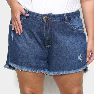 Shorts Jeans Cambos Plus Size Básico Puídos Feminino