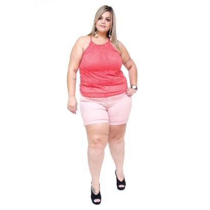 Shorts Jeans Cambos Plus Size Euda Feminino-Feminino