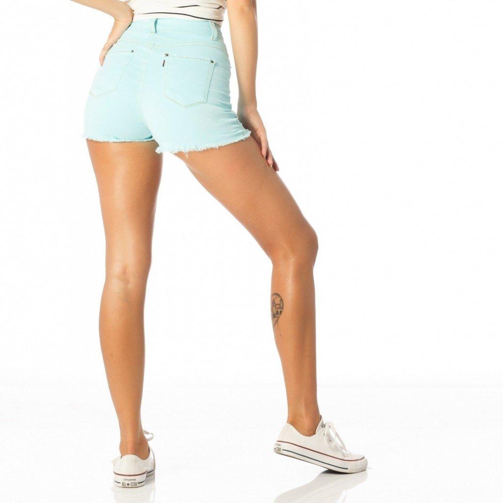 Shorts Jeans com Elastano Cintura Alta Colorido Loja Sobreposto ... 1e6930b403