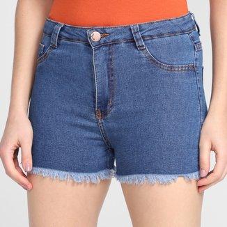 Shorts Jeans Ecxo Barra Desfiada Feminino