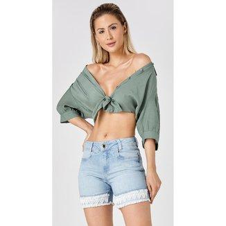 Shorts Jeans Express Meia Coxa Gracy Feminino