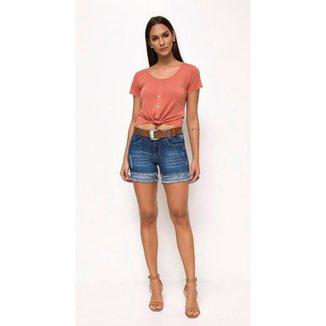 Shorts Jeans Express Meia Coxa Saneli Feminino