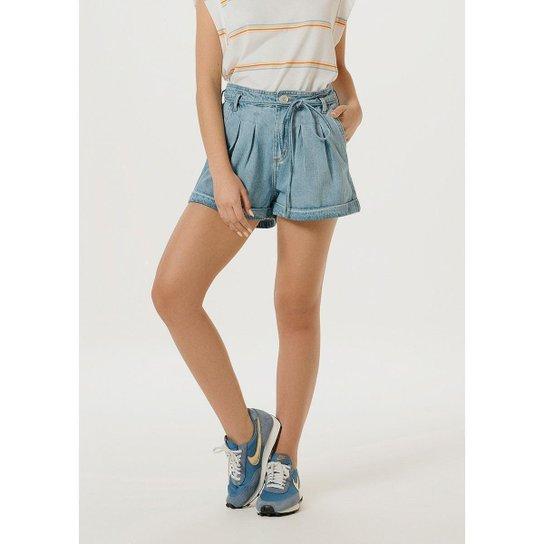 Shorts Jeans Hering Cintura Alta Feminino - Azul