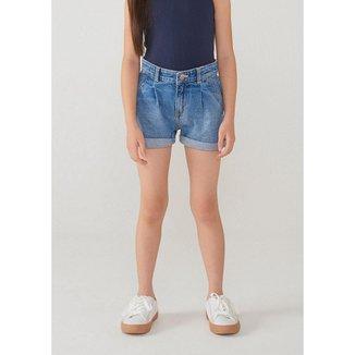 Shorts Jeans Infantil Feminino Com Barra Dobrada