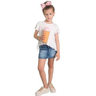 Shorts Jeans Infantil MRX Botões Básico Feminino