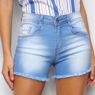 Shorts Jeans Justin Denim Ziper Desfiado Feminino