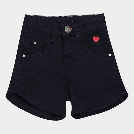 Shorts Jeans Juvenil Malwee Comfort Feminino - Marinho
