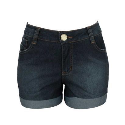 Shorts Jeans Knt Barra Dobrada-Feminino