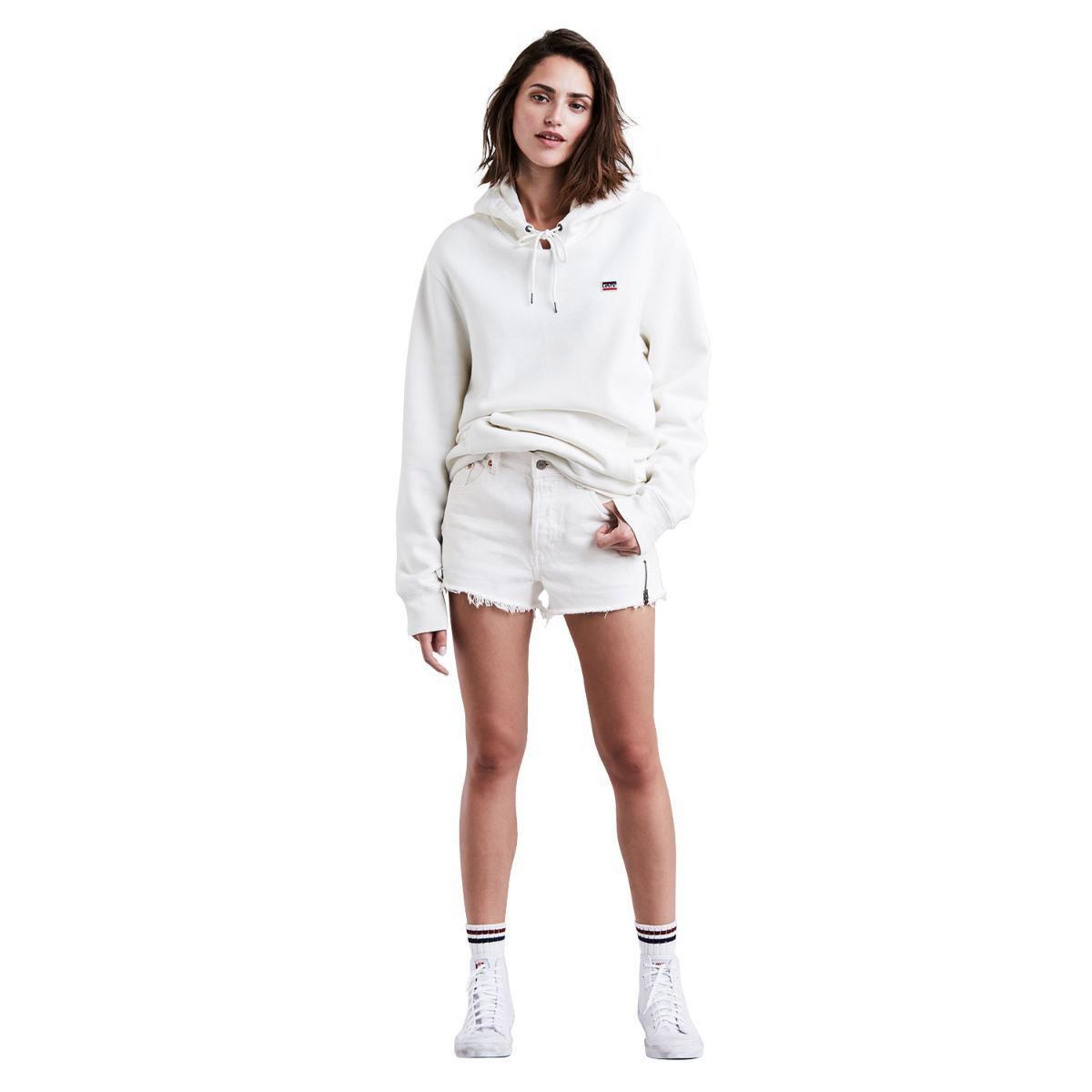 Shorts Jeans Levis 501 Altered Zip Feminino - Branco - Compre Agora ... bd3697a6dea