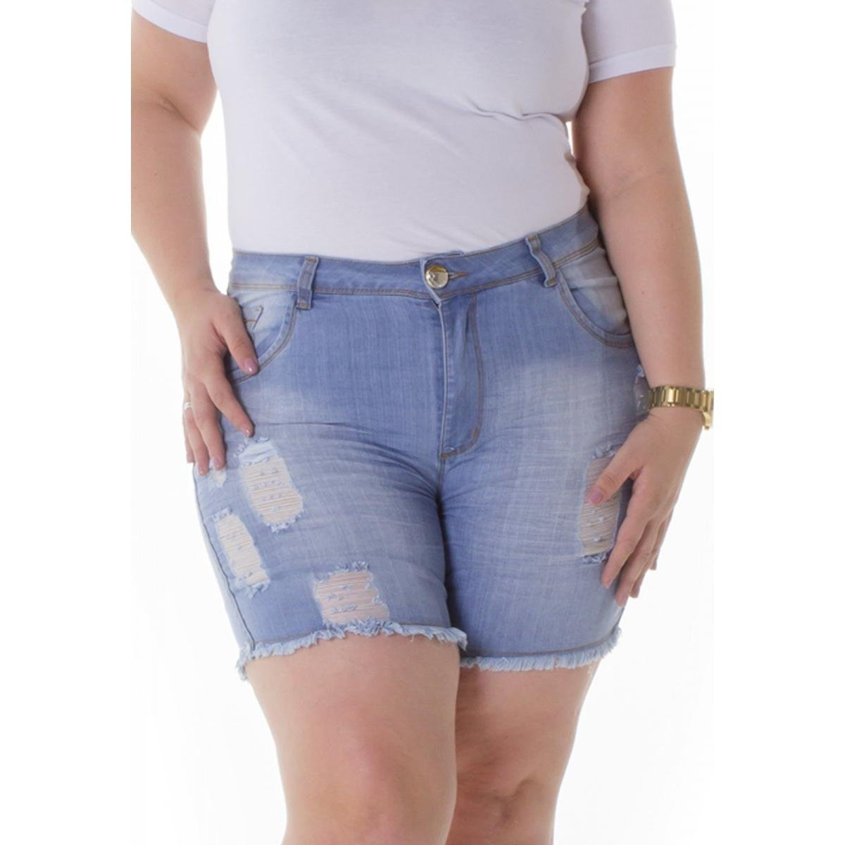Shorts Jeans Plus Size com Elastano Feminino - Azul