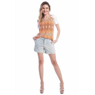 Shorts Jeans Ralm Tricot Furos Feminino