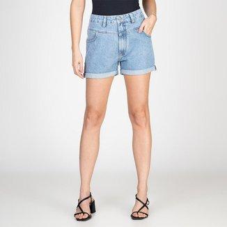 Shorts Jeans Recortes Frontais Delavê Bloom Feminino