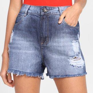 Shorts Jeans Sawary Barra Desfiada Feminino