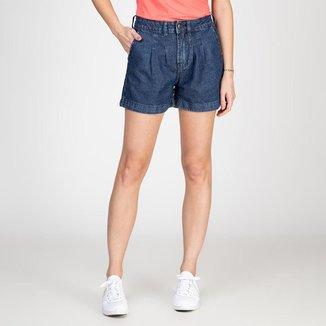 Shorts Jeans Tipo Alfaiataria Com Pregas Escuro Bloom Feminino