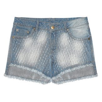 Shorts Juvenil Rovitex Jeans Estonado Feminino