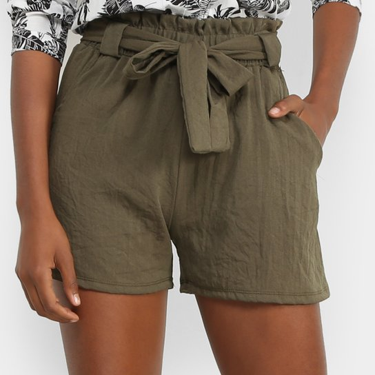 Shorts Lily Fashion Clochard Linho Feminino - Verde