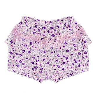 Shorts Look Jeans Floral Lilás Feminino