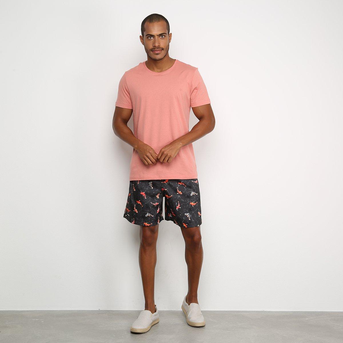 Shorts Mash Estampado Peixes Masculino - Preto