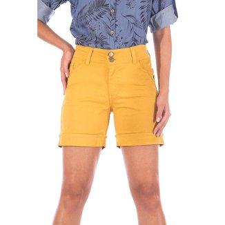Shorts Meia Coxa com Elástico Sisal Jeans Feminino