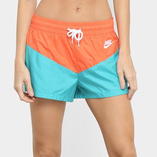 Shorts Nike Heritage WNV Feminino - Azul Turquesa+Laranja