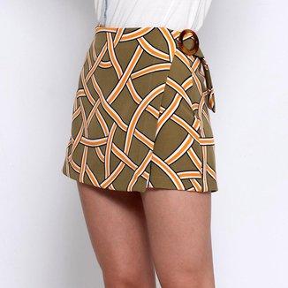 Shorts Saia Bisô  Geométrico Feminino