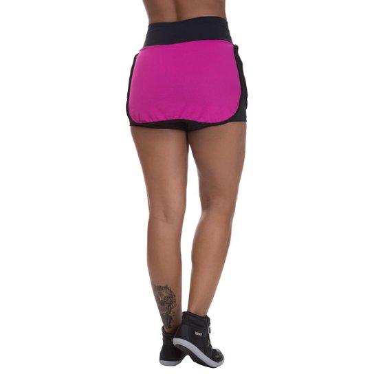 Shorts Saia Mis Blessed Premium com Dry Fit Feminino - Rosa+Preto