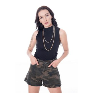 Shorts Sisal Jeans de Cintura Alta Camuflado Feminino
