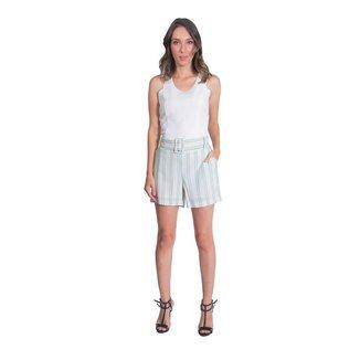 Shorts Viscose Detalhe Listra Com Cinto Cós de Elástico Miss Joy 6372 Feminino