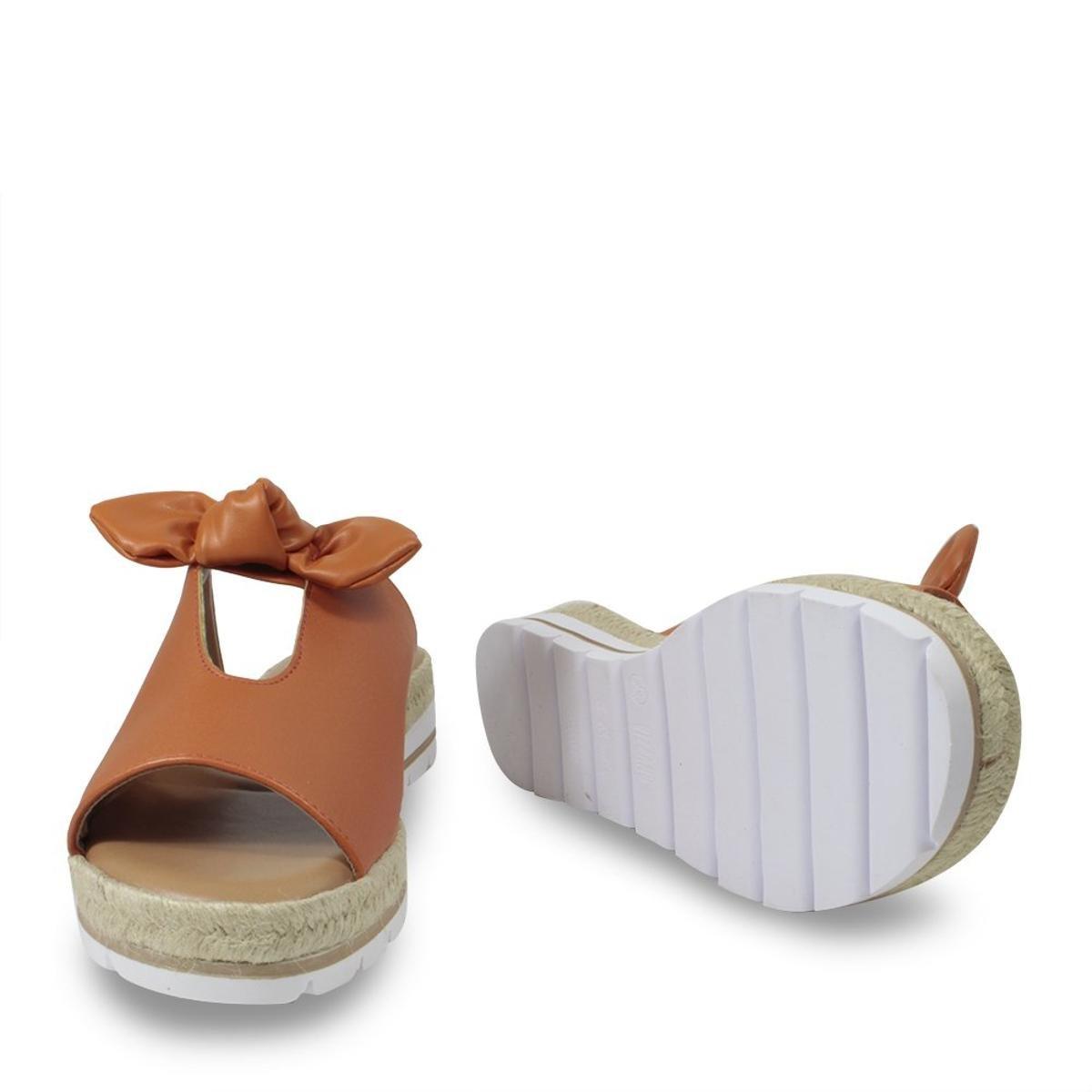 Slide Vizzano Flatform Laço Feminino - Caramelo