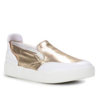 Slip On Couro Shoestock Comfy Feminino