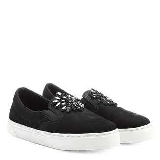Slip On Couro Shoestock Pedraria Feminino