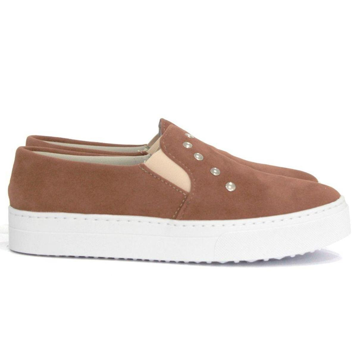 Slip On Dali Shoes Metais Feminino - Marrom